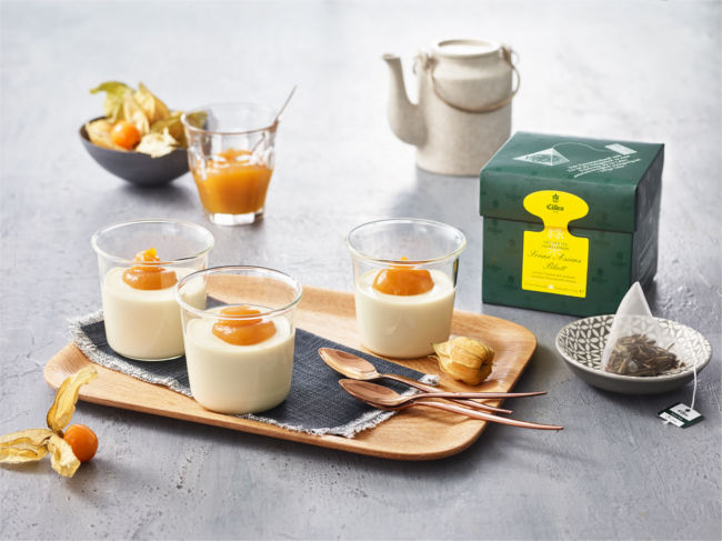 EILLES TEE Recipie Asian Sun panna cotta with physalis topping